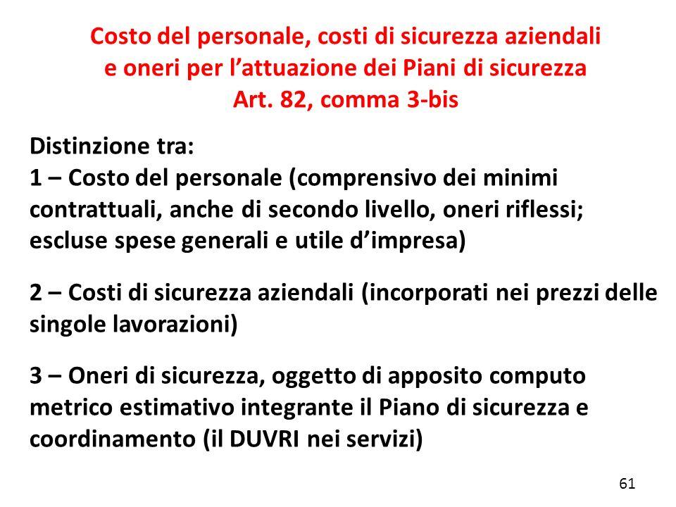 Distinzione tra: 1 – Costo del personale (comprensivo dei minimi contrattuali, anche di secondo livello, oneri riflessi; escluse spese generali e util