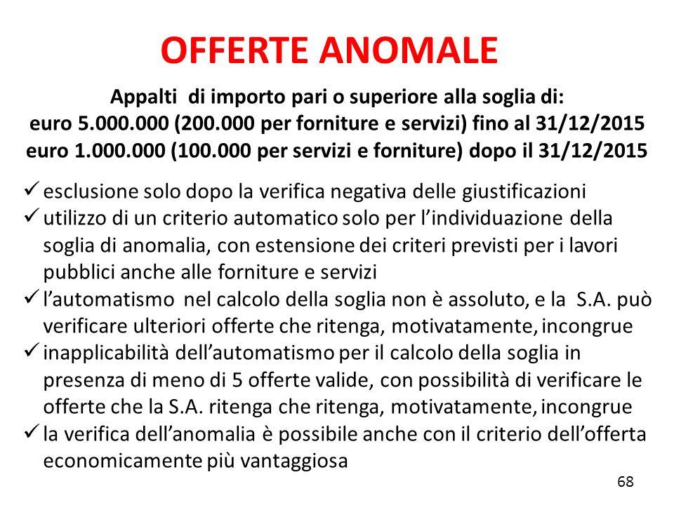 Appalti di importo pari o superiore alla soglia di: euro 5.000.000 (200.000 per forniture e servizi) fino al 31/12/2015 euro 1.000.000 (100.000 per se