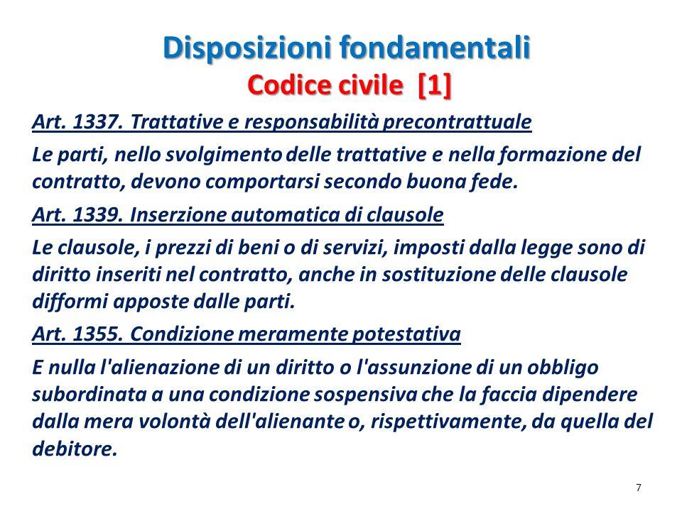 Disposizioni fondamentali Art. 1337. Trattative e responsabilità precontrattuale Le parti, nello svolgimento delle trattative e nella formazione del c