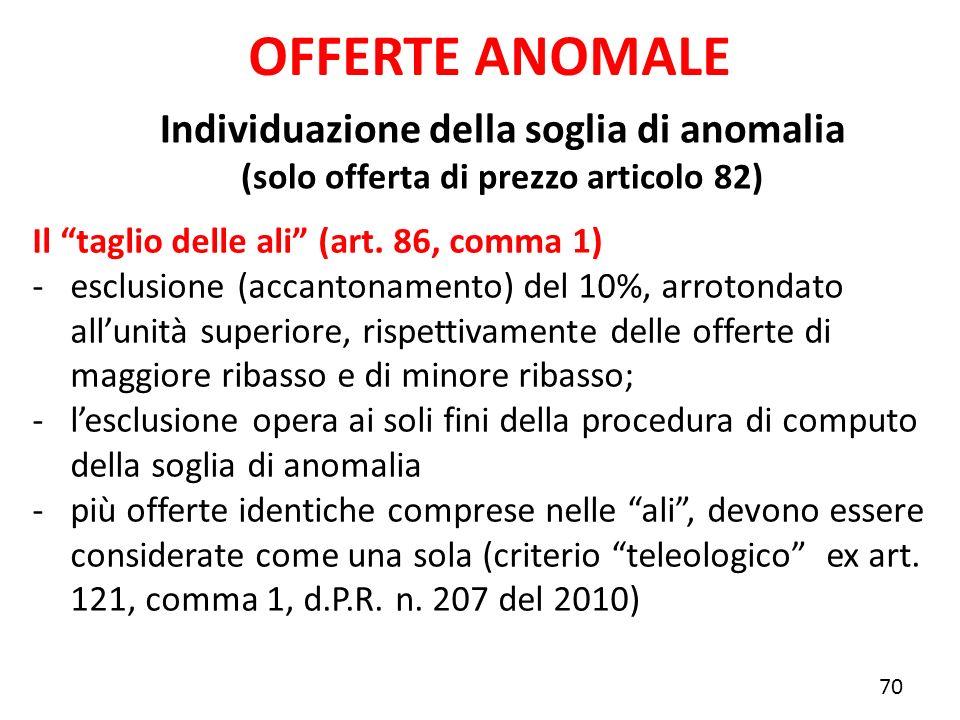 Individuazione della soglia di anomalia (solo offerta di prezzo articolo 82) OFFERTE ANOMALE Il taglio delle ali (art. 86, comma 1) -esclusione (accan