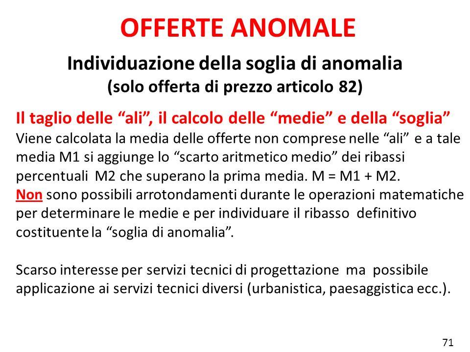 Individuazione della soglia di anomalia (solo offerta di prezzo articolo 82) OFFERTE ANOMALE Il taglio delle ali, il calcolo delle medie e della sogli
