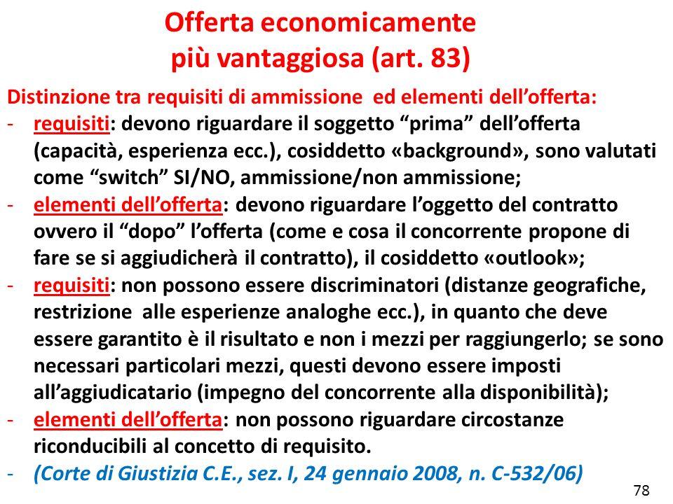 Offerta economicamente più vantaggiosa (art. 83) Distinzione tra requisiti di ammissione ed elementi dellofferta: -requisiti: devono riguardare il sog