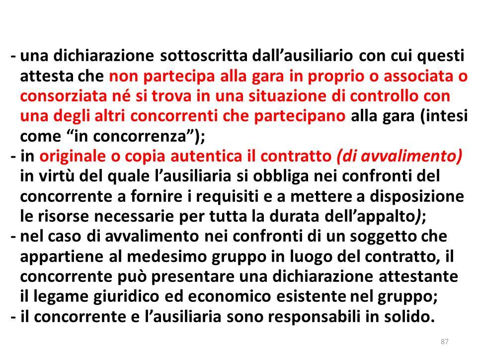 87 -una dichiarazione sottoscritta dallausiliario con cui questi attesta che non partecipa alla gara in proprio o associata o consorziata né si trova