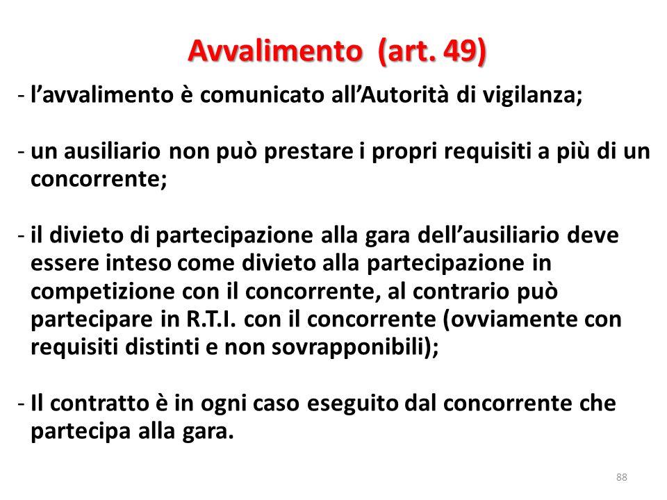 Avvalimento (art. 49) Avvalimento (art. 49) 88 -lavvalimento è comunicato allAutorità di vigilanza; -un ausiliario non può prestare i propri requisiti