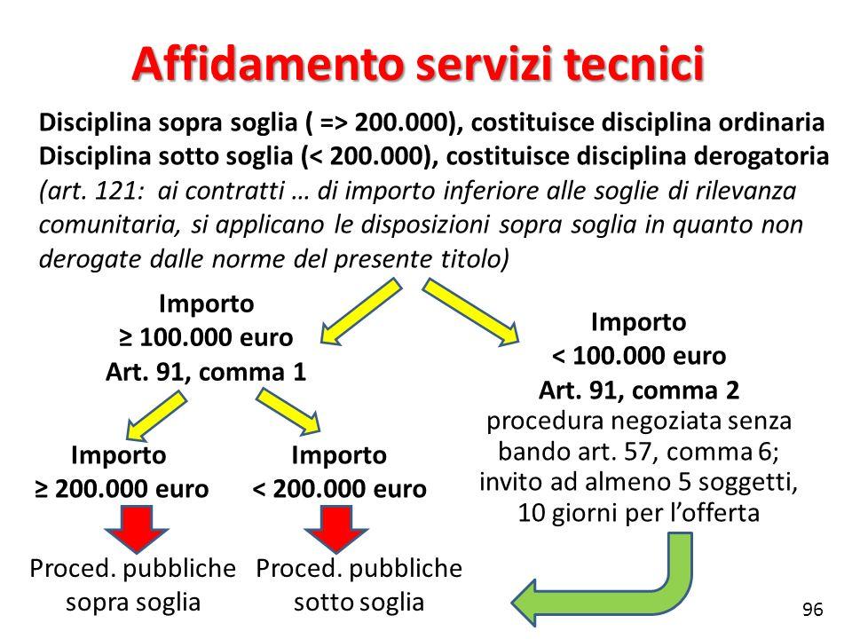 Disciplina sopra soglia ( => 200.000), costituisce disciplina ordinaria Disciplina sotto soglia (< 200.000), costituisce disciplina derogatoria (art.