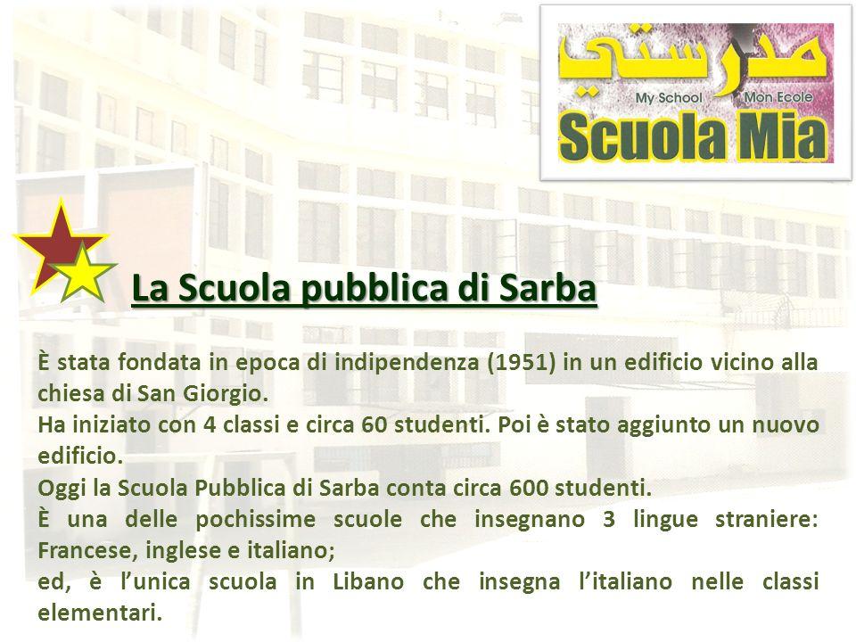 La Scuola pubblica di Sarba La Scuola pubblica di Sarba È stata fondata in epoca di indipendenza (1951) in un edificio vicino alla chiesa di San Giorg