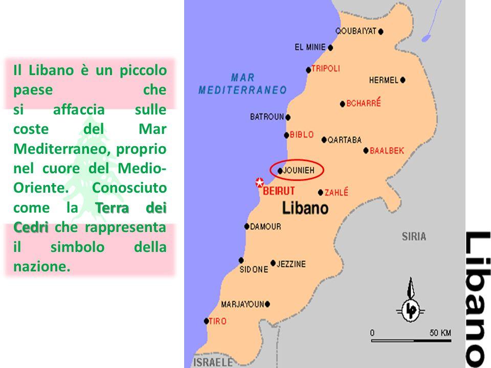 Terra dei Cedri Il Libano è un piccolo paese che si affaccia sulle coste del Mar Mediterraneo, proprio nel cuore del Medio- Oriente. Conosciuto come l
