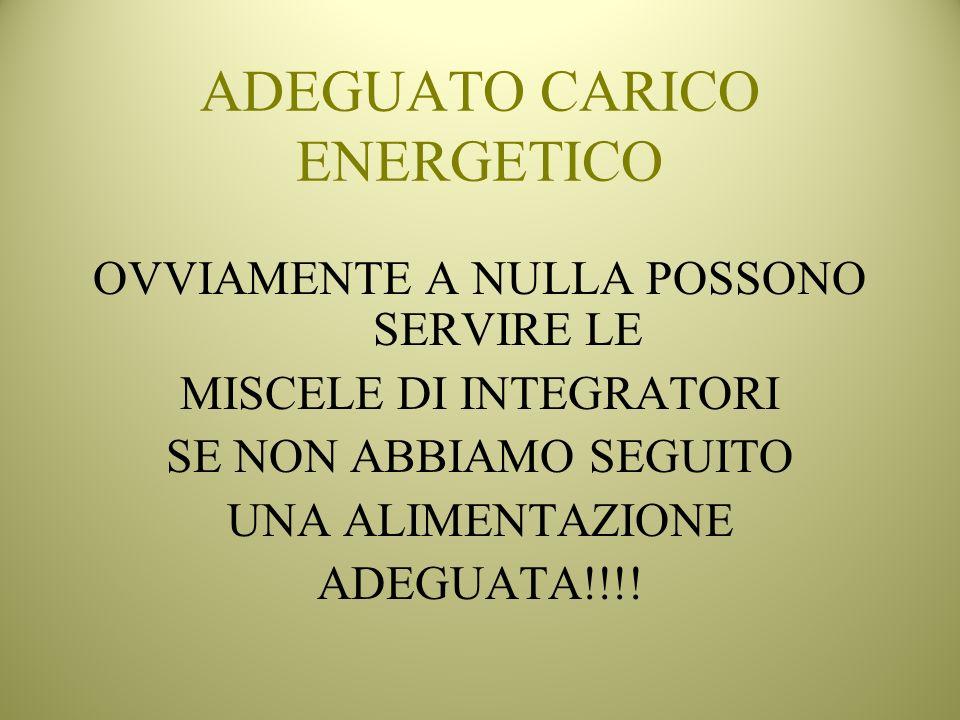 ADEGUATO CARICO ENERGETICO OVVIAMENTE A NULLA POSSONO SERVIRE LE MISCELE DI INTEGRATORI SE NON ABBIAMO SEGUITO UNA ALIMENTAZIONE ADEGUATA!!!!