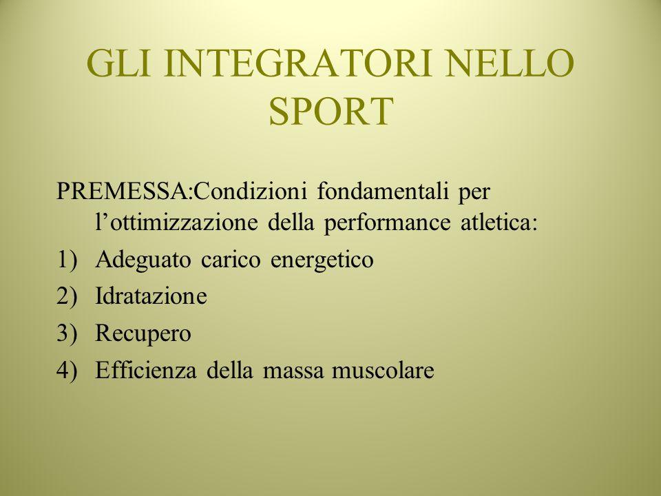 PREMESSA:Condizioni fondamentali per lottimizzazione della performance atletica: 1)Adeguato carico energetico 2)Idratazione 3)Recupero 4)Efficienza de