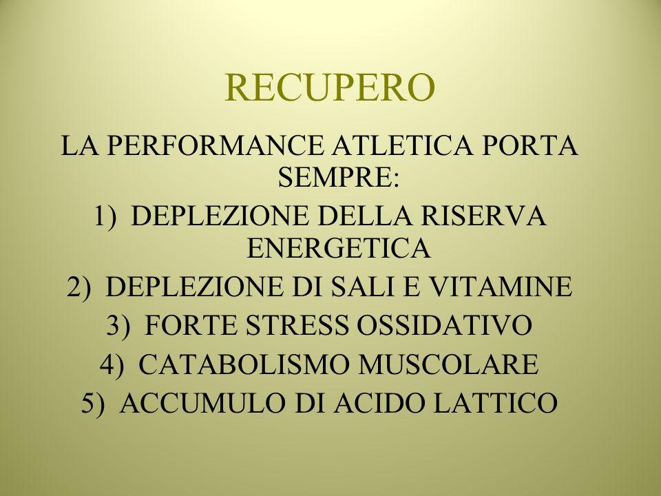 RECUPERO LA PERFORMANCE ATLETICA PORTA SEMPRE: 1)DEPLEZIONE DELLA RISERVA ENERGETICA 2)DEPLEZIONE DI SALI E VITAMINE 3)FORTE STRESS OSSIDATIVO 4)CATAB