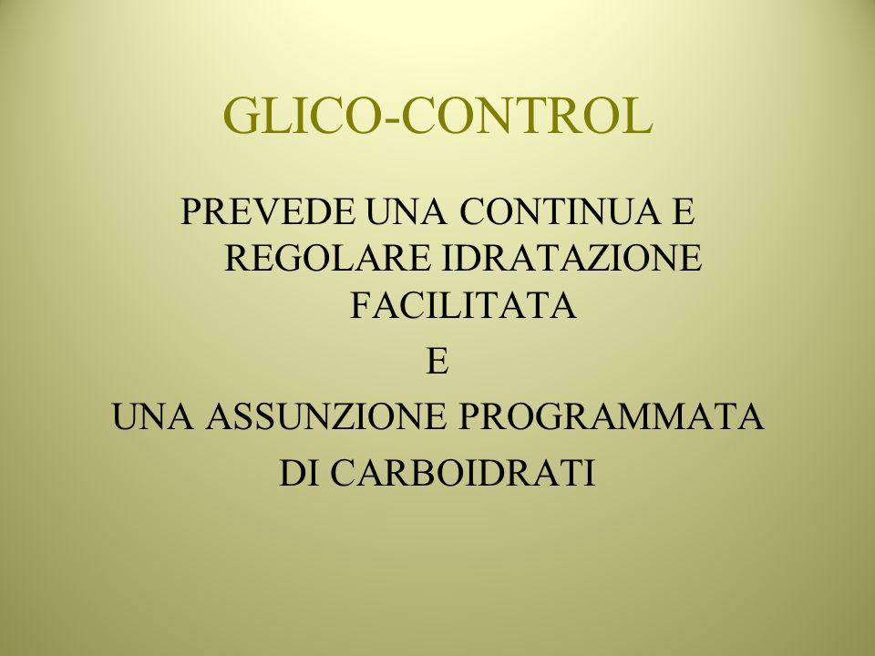 GLICO-CONTROL PREVEDE UNA CONTINUA E REGOLARE IDRATAZIONE FACILITATA E UNA ASSUNZIONE PROGRAMMATA DI CARBOIDRATI