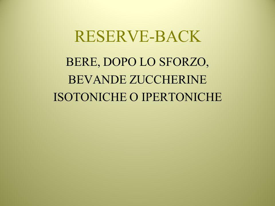 RESERVE-BACK BERE, DOPO LO SFORZO, BEVANDE ZUCCHERINE ISOTONICHE O IPERTONICHE