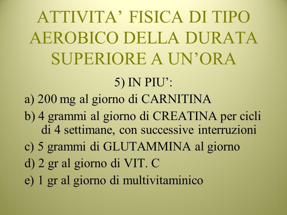 ATTIVITA FISICA DI TIPO AEROBICO DELLA DURATA SUPERIORE A UNORA 5) IN PIU: a) 200 mg al giorno di CARNITINA b) 4 grammi al giorno di CREATINA per cicl