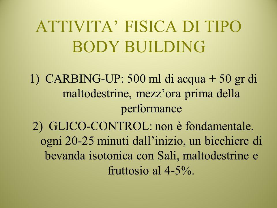 ATTIVITA FISICA DI TIPO BODY BUILDING 1)CARBING-UP: 500 ml di acqua + 50 gr di maltodestrine, mezzora prima della performance 2)GLICO-CONTROL: non è f