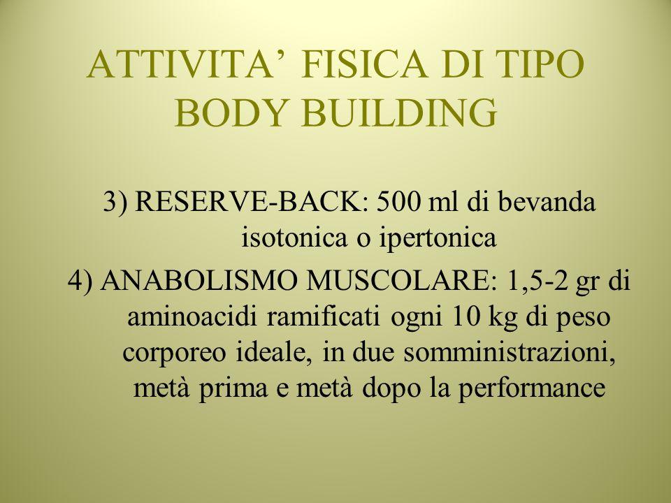ATTIVITA FISICA DI TIPO BODY BUILDING 3) RESERVE-BACK: 500 ml di bevanda isotonica o ipertonica 4) ANABOLISMO MUSCOLARE: 1,5-2 gr di aminoacidi ramifi