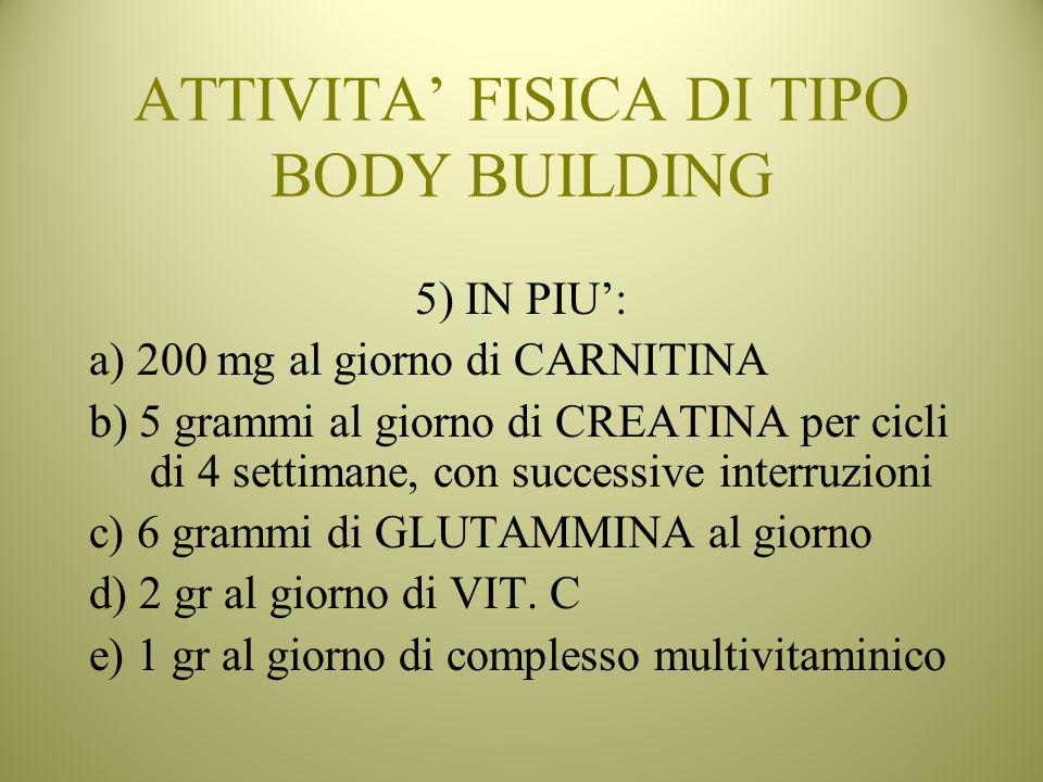 ATTIVITA FISICA DI TIPO BODY BUILDING 5) IN PIU: a) 200 mg al giorno di CARNITINA b) 5 grammi al giorno di CREATINA per cicli di 4 settimane, con succ