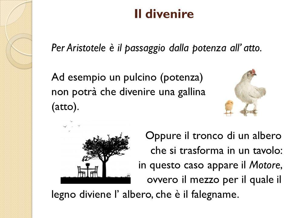 Il divenire Per Aristotele è il passaggio dalla potenza all atto. Ad esempio un pulcino (potenza) non potrà che divenire una gallina (atto). Oppure il