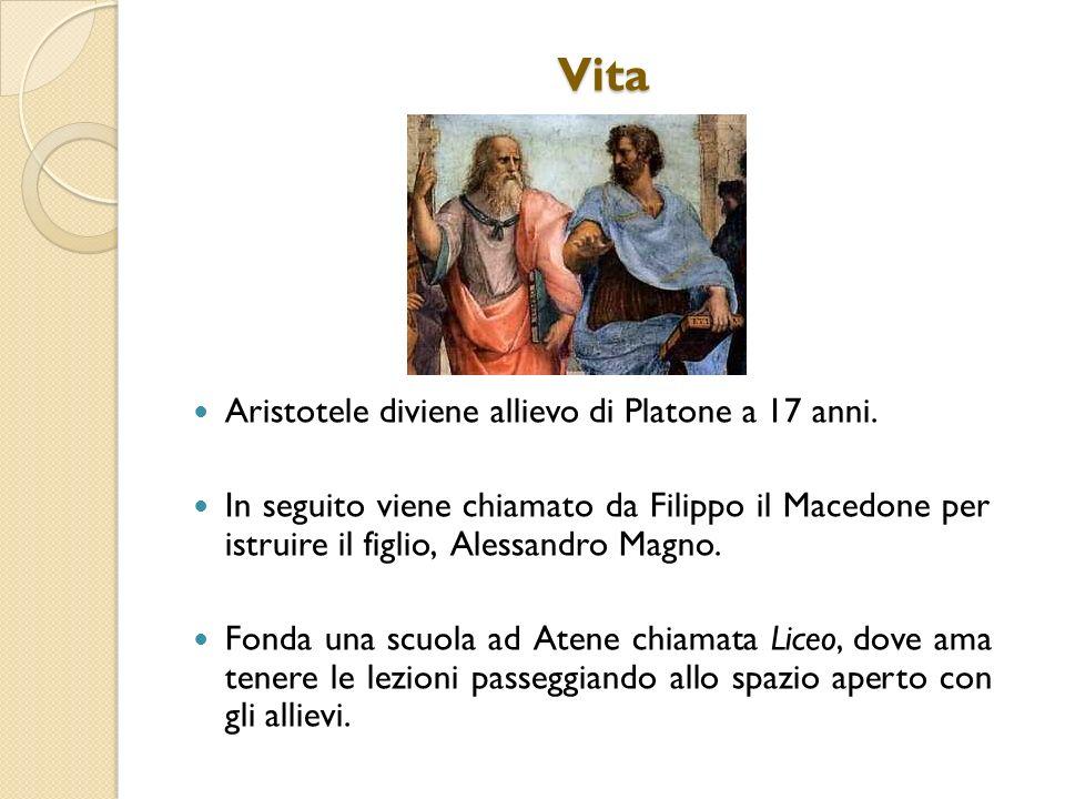 Vita Aristotele diviene allievo di Platone a 17 anni. In seguito viene chiamato da Filippo il Macedone per istruire il figlio, Alessandro Magno. Fonda