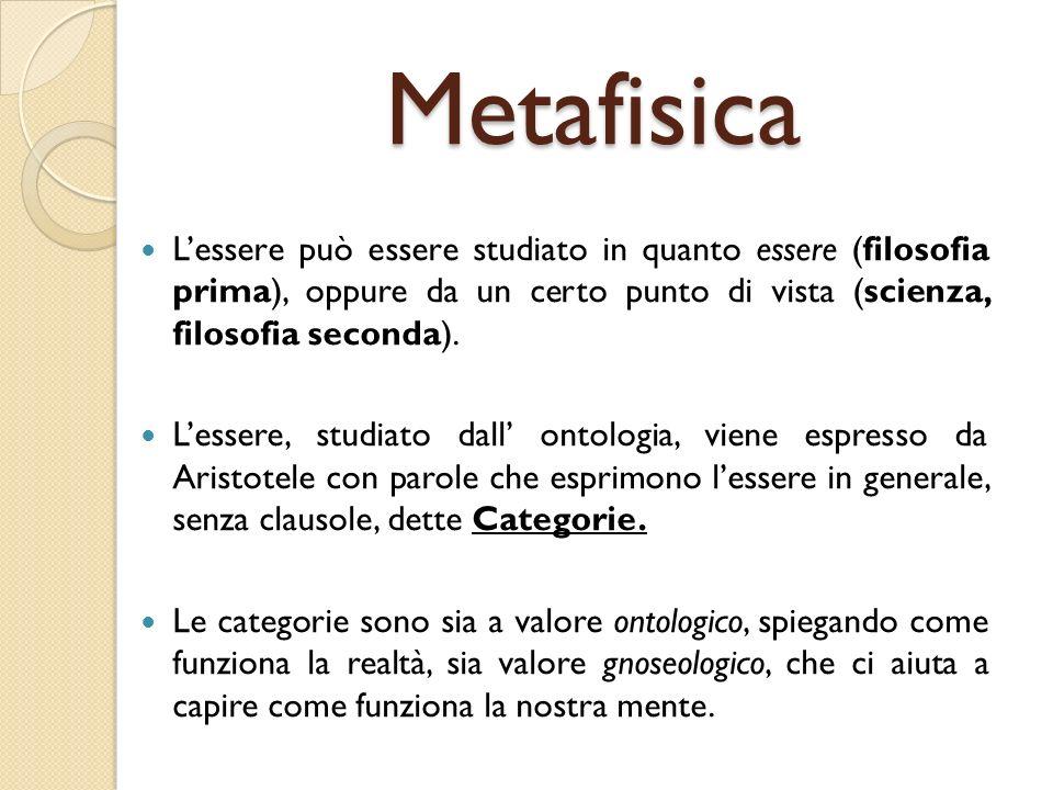 Metafisica Lessere può essere studiato in quanto essere (filosofia prima), oppure da un certo punto di vista (scienza, filosofia seconda). Lessere, st
