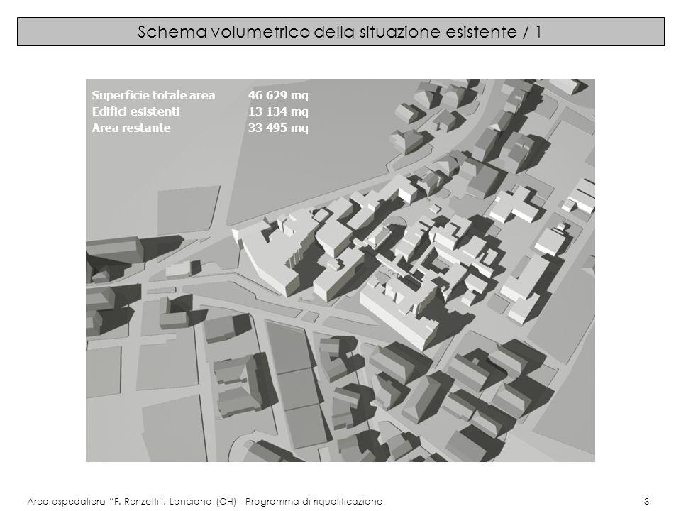 Schema volumetrico della situazione esistente / 2 Area ospedaliera F.