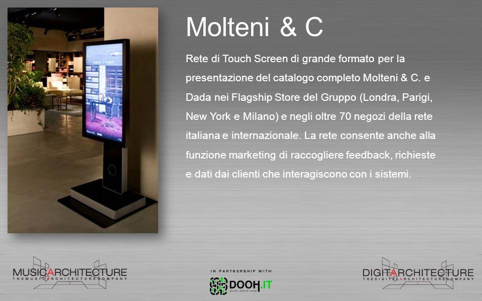 Molteni & C Rete di Touch Screen di grande formato per la presentazione del catalogo completo Molteni & C. e Dada nei Flagship Store del Gruppo (Londr
