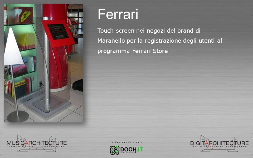 Ferrari Touch screen nei negozi del brand di Maranello per la registrazione degli utenti al programma Ferrari Store