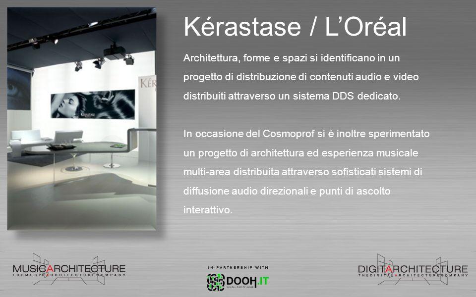 Kérastase / LOréal Architettura, forme e spazi si identificano in un progetto di distribuzione di contenuti audio e video distribuiti attraverso un si