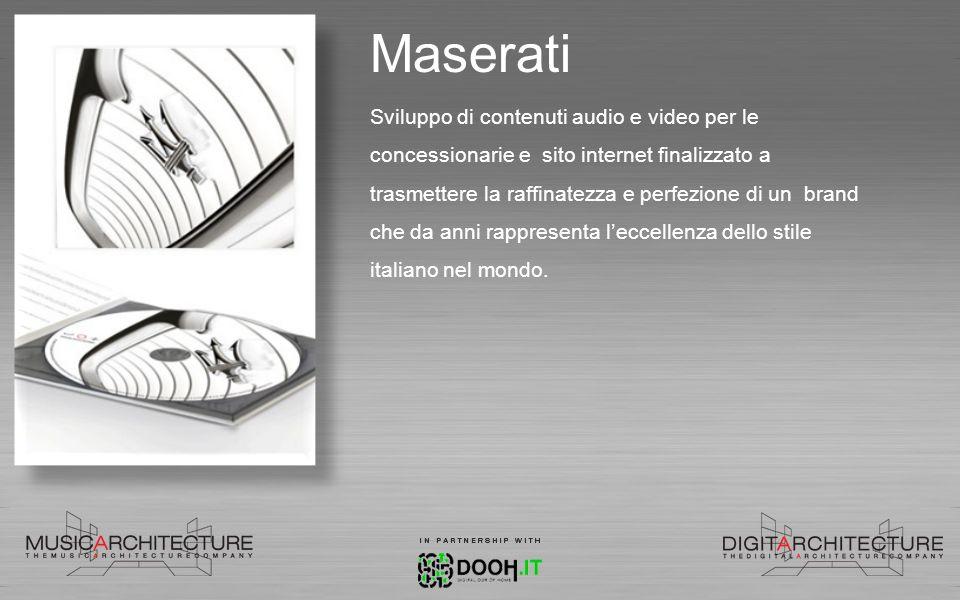 Maserati Sviluppo di contenuti audio e video per le concessionarie e sito internet finalizzato a trasmettere la raffinatezza e perfezione di un brand