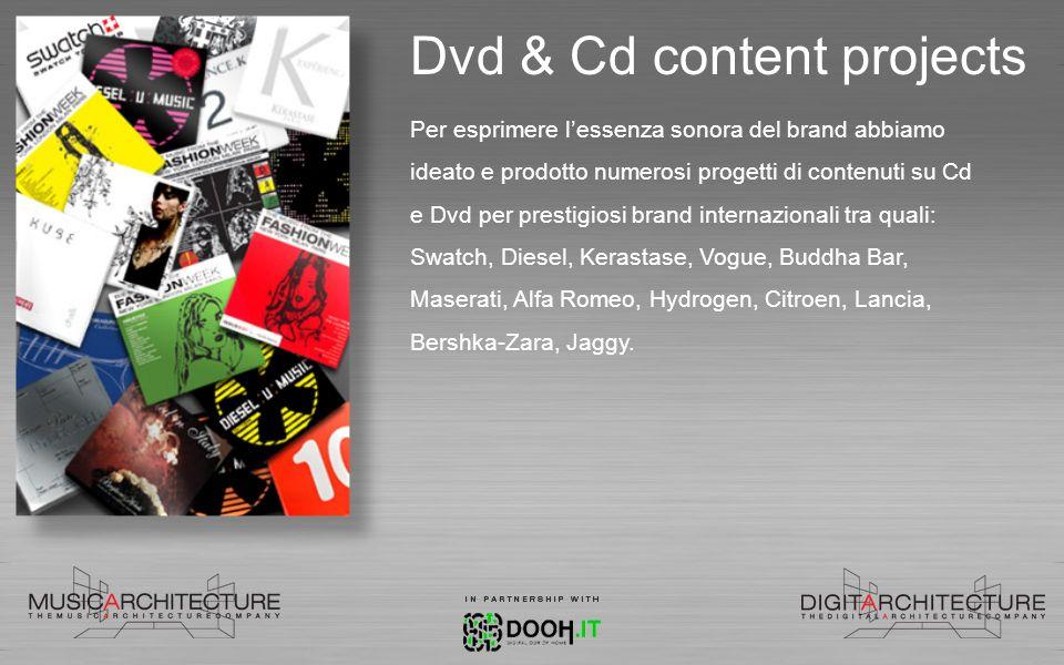 Dvd & Cd content projects Per esprimere lessenza sonora del brand abbiamo ideato e prodotto numerosi progetti di contenuti su Cd e Dvd per prestigiosi
