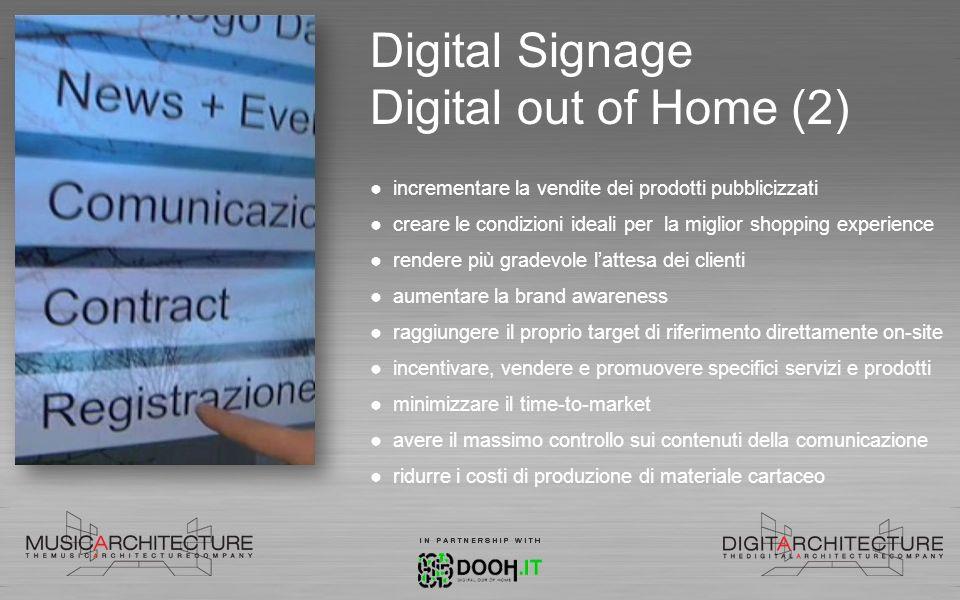 Digital Signage Digital out of Home (2) incrementare la vendite dei prodotti pubblicizzati creare le condizioni ideali per la miglior shopping experie