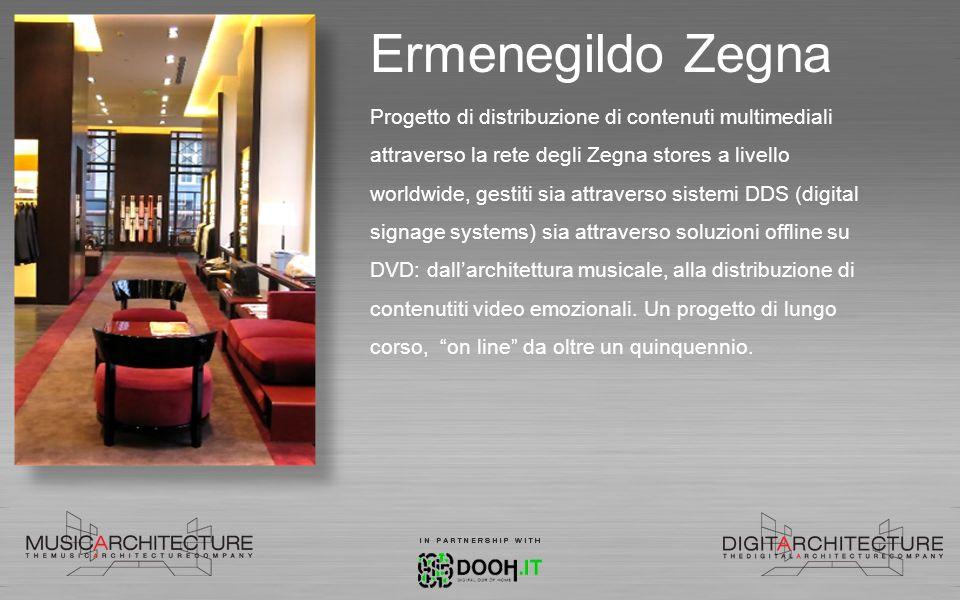 Tods, Fay, Hogan Realizzazione di un progetto di architettura musicale e di distribuzione di contenuti video su tutto il network retail a livello internazionale.