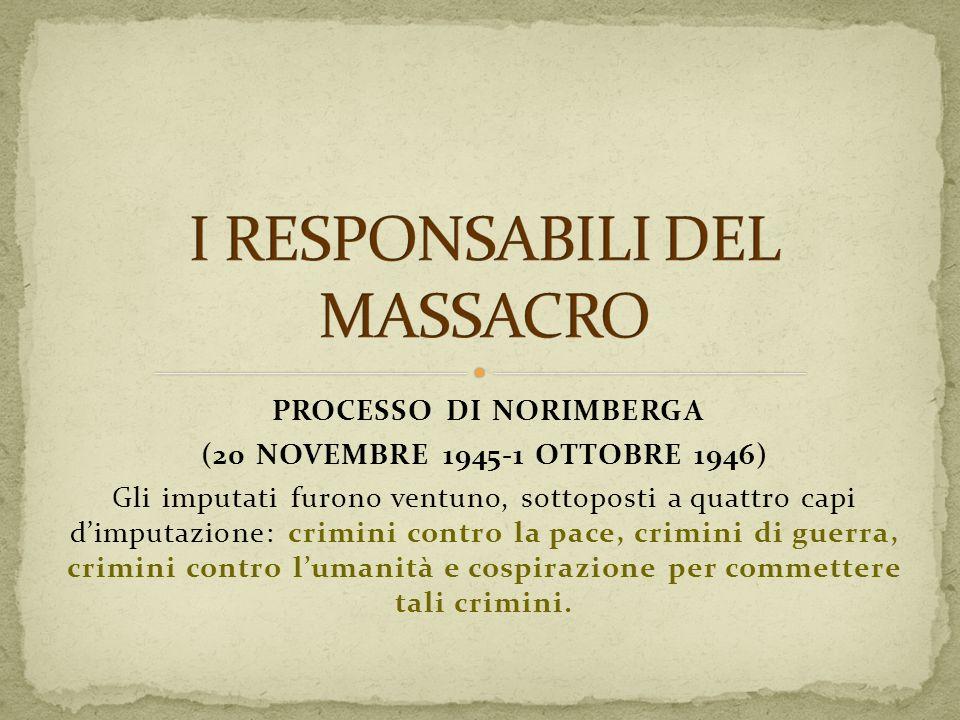 PROCESSO DI NORIMBERGA (20 NOVEMBRE 1945-1 OTTOBRE 1946) Gli imputati furono ventuno, sottoposti a quattro capi dimputazione: crimini contro la pace,