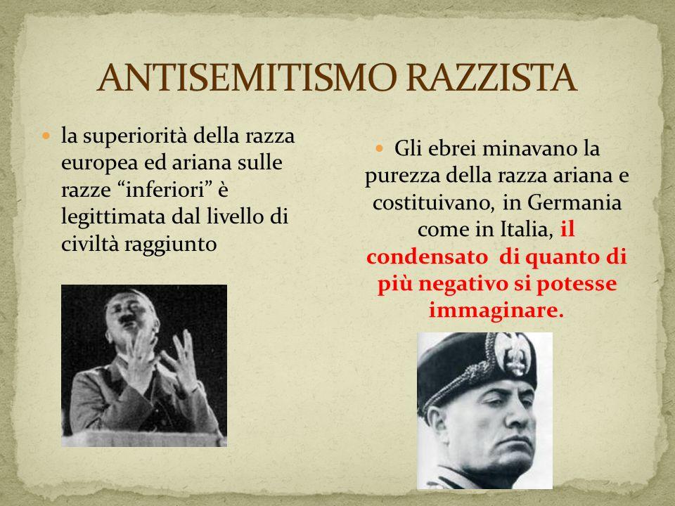 la superiorità della razza europea ed ariana sulle razze inferiori è legittimata dal livello di civiltà raggiunto Gli ebrei minavano la purezza della