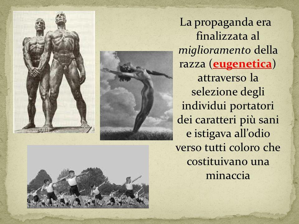 La propaganda era finalizzata al miglioramento della razza (eugenetica) attraverso la selezione degli individui portatori dei caratteri più sani e ist