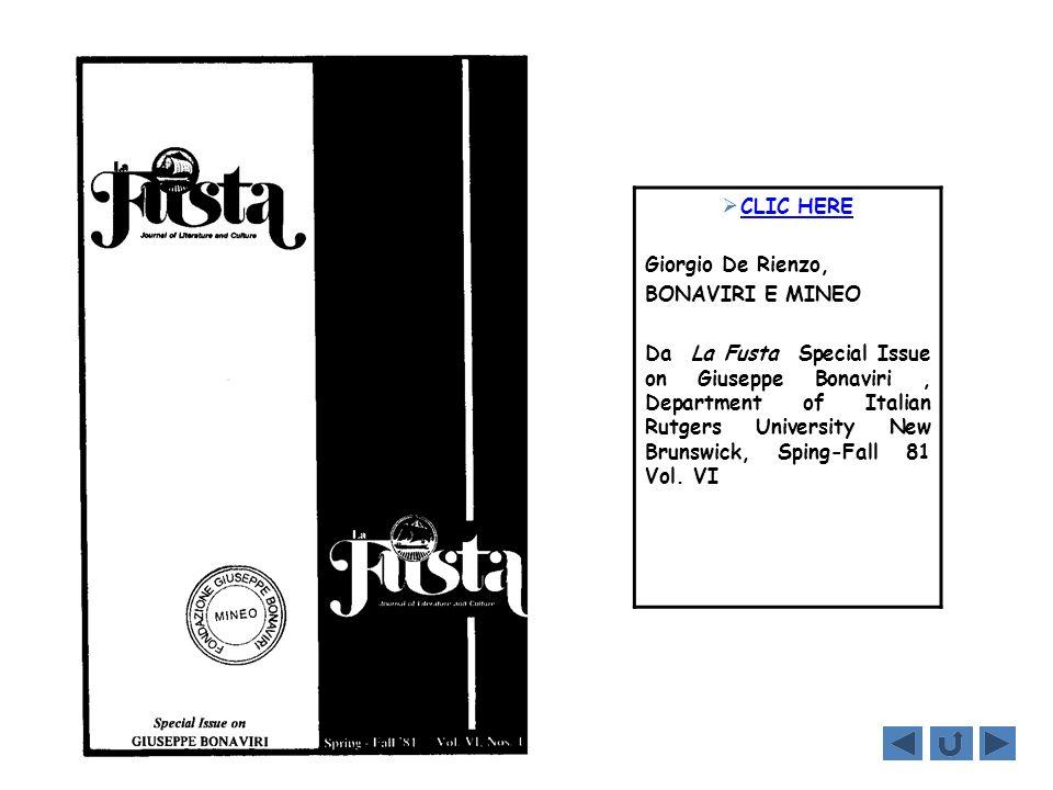 CLIC HERE Giorgio De Rienzo, BONAVIRI E MINEO Da La Fusta Special Issue on Giuseppe Bonaviri, Department of Italian Rutgers University New Brunswick,