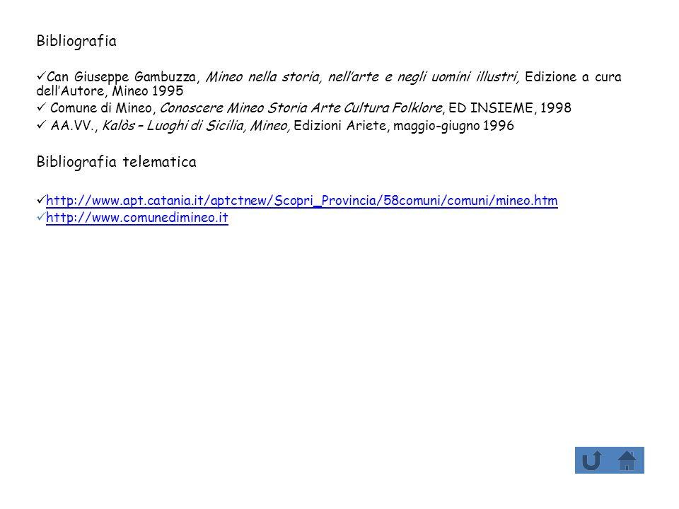 Bibliografia Can Giuseppe Gambuzza, Mineo nella storia, nellarte e negli uomini illustri, Edizione a cura dellAutore, Mineo 1995 Comune di Mineo, Cono