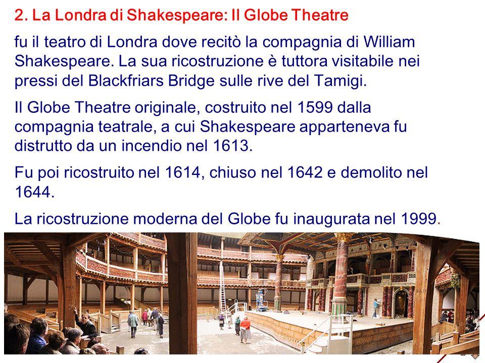 2. La Londra di Shakespeare: Il Globe Theatre fu il teatro di Londra dove recitò la compagnia di William Shakespeare. La sua ricostruzione è tuttora v
