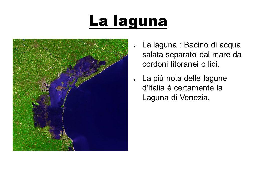 La laguna La laguna : Bacino di acqua salata separato dal mare da cordoni litoranei o lidi. La più nota delle lagune d'Italia è certamente la Laguna d