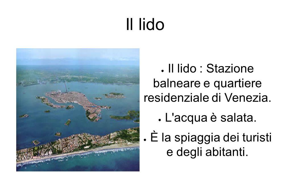 Il lido Il lido : Stazione balneare e quartiere residenziale di Venezia. L'acqua è salata. È la spiaggia dei turisti e degli abitanti.