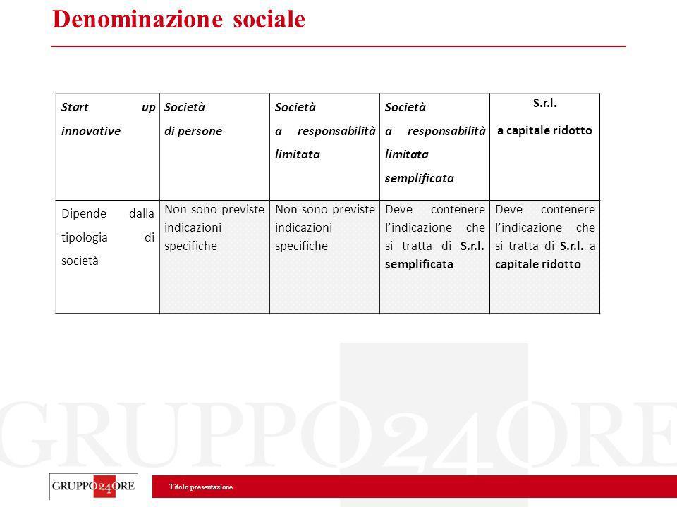 Titolo presentazione Denominazione sociale Start up innovative Società di persone Società a responsabilità limitata Società a responsabilità limitata