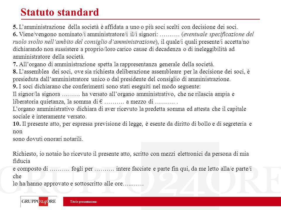 Titolo presentazione Statuto standard 5. Lamministrazione della società è affidata a uno o più soci scelti con decisione dei soci. 6. Viene/vengono no