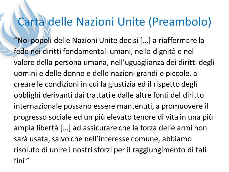 Carta delle Nazioni Unite (Preambolo) Noi popoli delle Nazioni Unite decisi […] a riaffermare la fede nei diritti fondamentali umani, nella dignità e