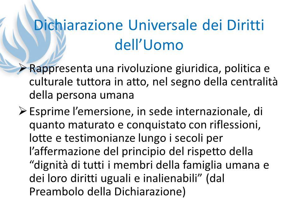 Dichiarazione Universale dei Diritti dellUomo Rappresenta una rivoluzione giuridica, politica e culturale tuttora in atto, nel segno della centralità