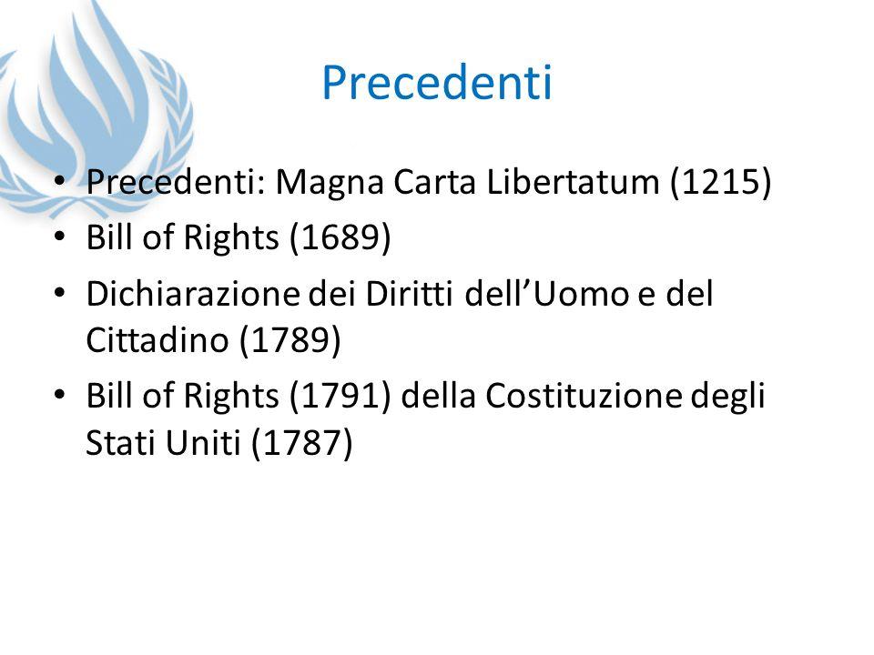 Precedenti Precedenti: Magna Carta Libertatum (1215) Bill of Rights (1689) Dichiarazione dei Diritti dellUomo e del Cittadino (1789) Bill of Rights (1