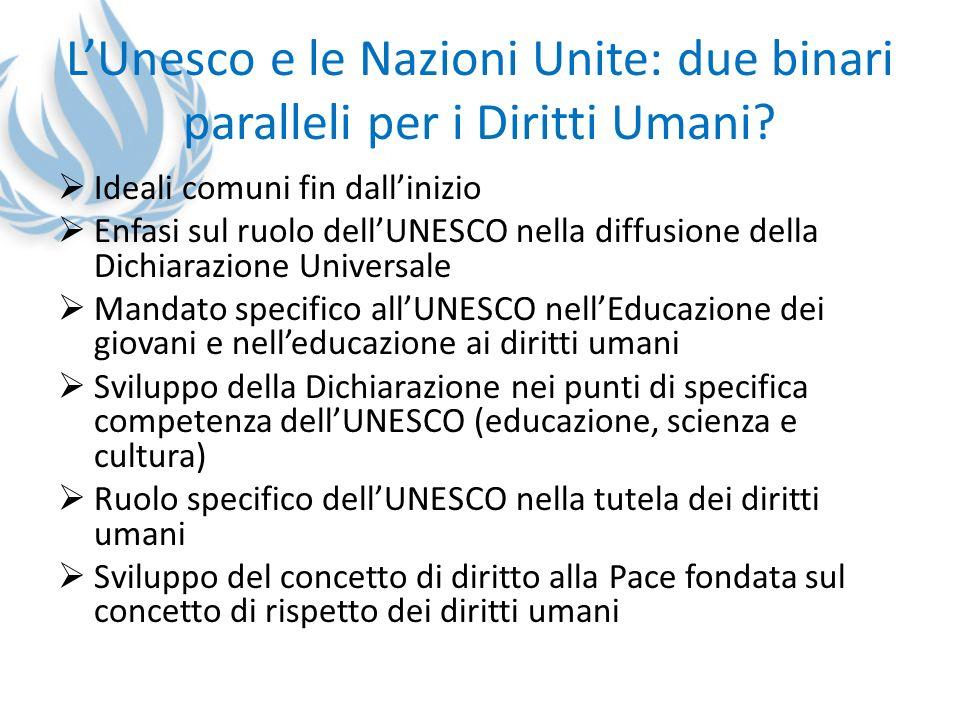 LUnesco e le Nazioni Unite: due binari paralleli per i Diritti Umani? Ideali comuni fin dallinizio Enfasi sul ruolo dellUNESCO nella diffusione della