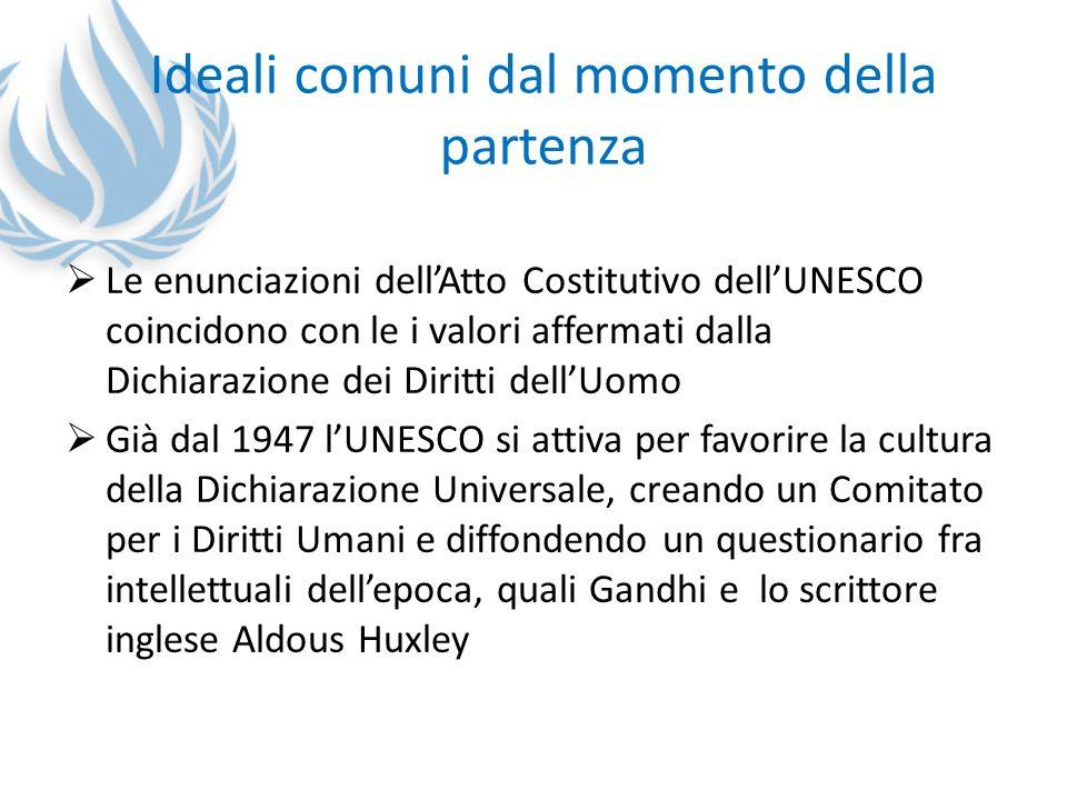 Ideali comuni dal momento della partenza Le enunciazioni dellAtto Costitutivo dellUNESCO coincidono con le i valori affermati dalla Dichiarazione dei