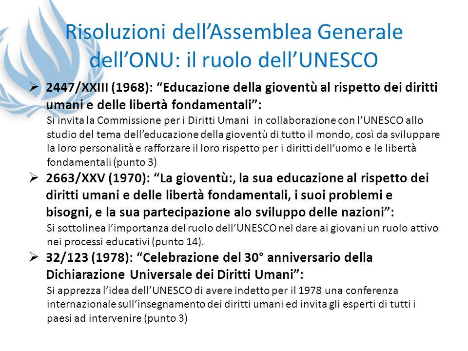 Risoluzioni dellAssemblea Generale dellONU: il ruolo dellUNESCO 2447/XXIII (1968): Educazione della gioventù al rispetto dei diritti umani e delle lib