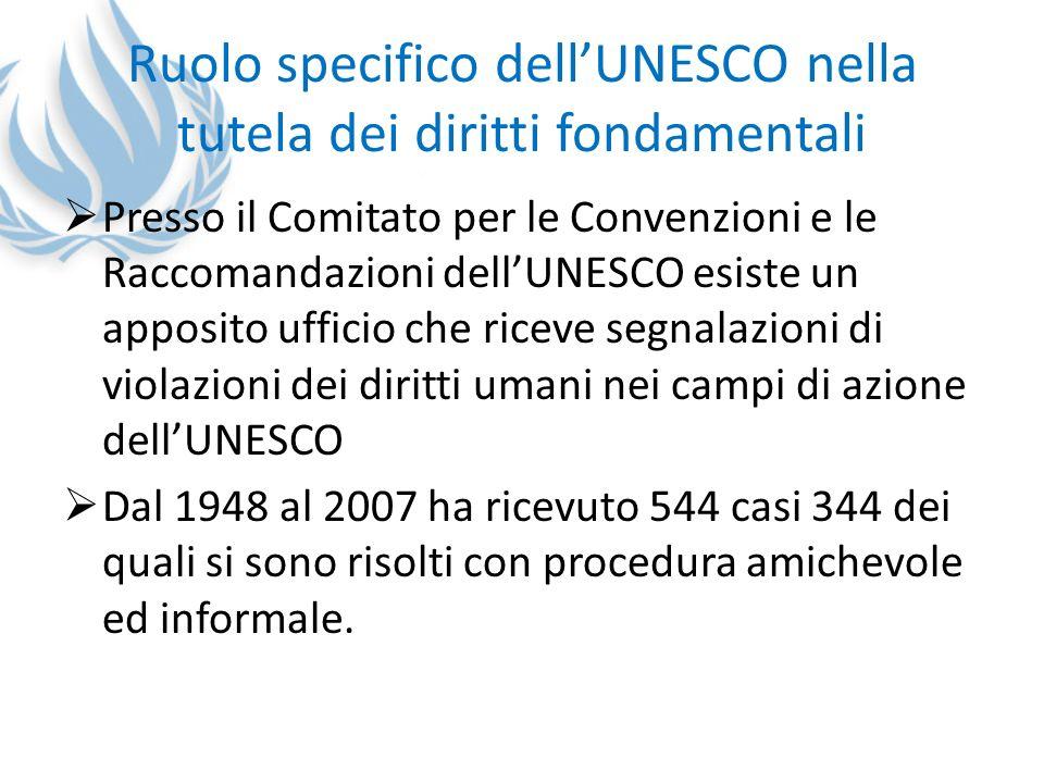 Ruolo specifico dellUNESCO nella tutela dei diritti fondamentali Presso il Comitato per le Convenzioni e le Raccomandazioni dellUNESCO esiste un appos