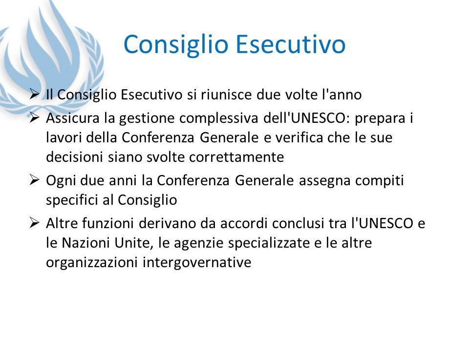 Consiglio Esecutivo Il Consiglio Esecutivo si riunisce due volte l'anno Assicura la gestione complessiva dell'UNESCO: prepara i lavori della Conferenz