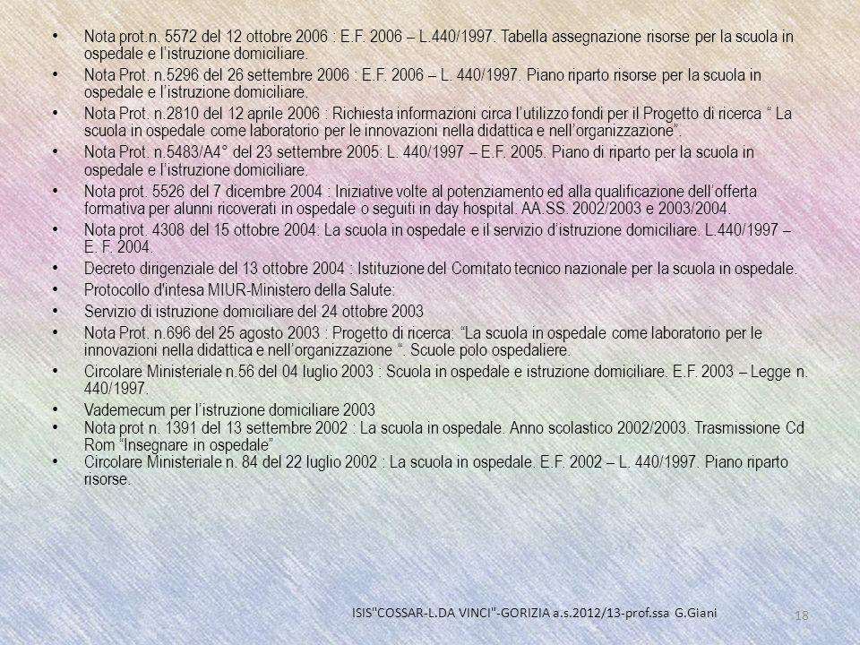 Nota prot.n. 5572 del 12 ottobre 2006 : E.F. 2006 – L.440/1997. Tabella assegnazione risorse per la scuola in ospedale e listruzione domiciliare. Nota